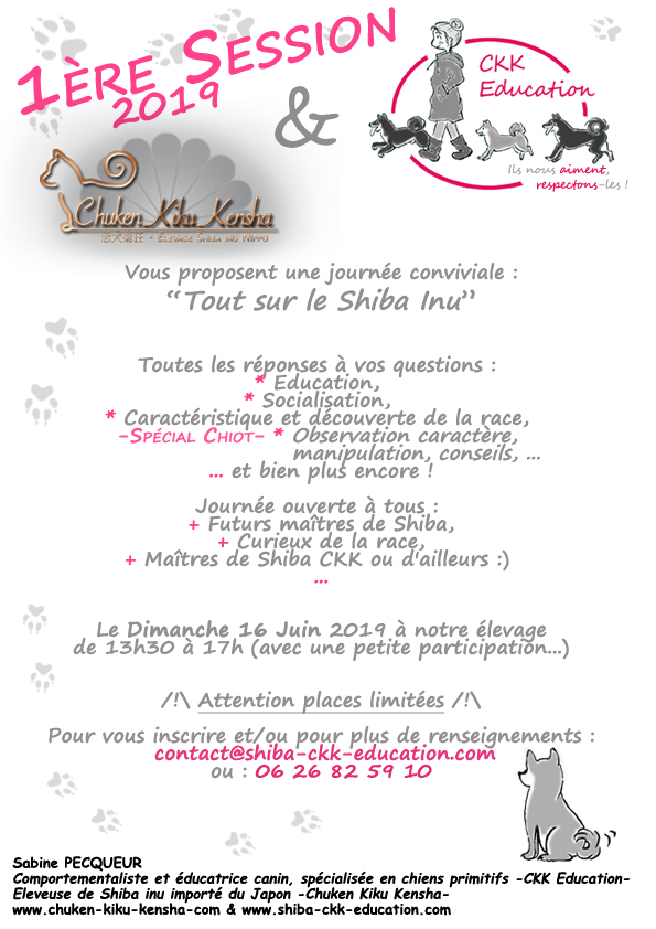 Tout-sur-le-Shiba-inu-CKK-Education-canine-chien-primitif-elevage-Chuken-kiku-kensha-socialisation-chiot-caractere-question-race-japonaise-evenement-canin-journee-information
